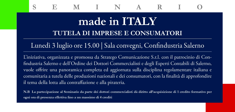 """Read more about the article """"Made in Italy. tutela di imprese e consumatori"""". Lunedì 3 luglio seminario in Confindustria Salerno"""