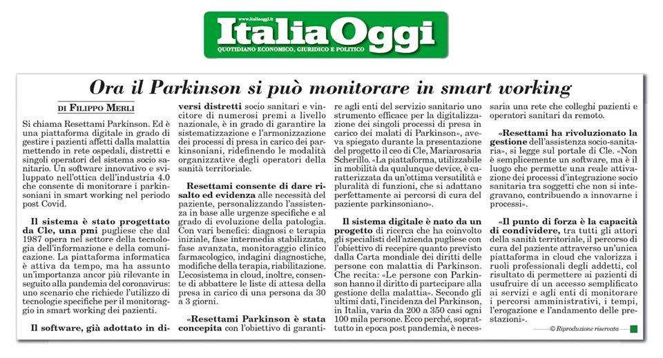 Italia Oggi: Resettami Parkinson CLE