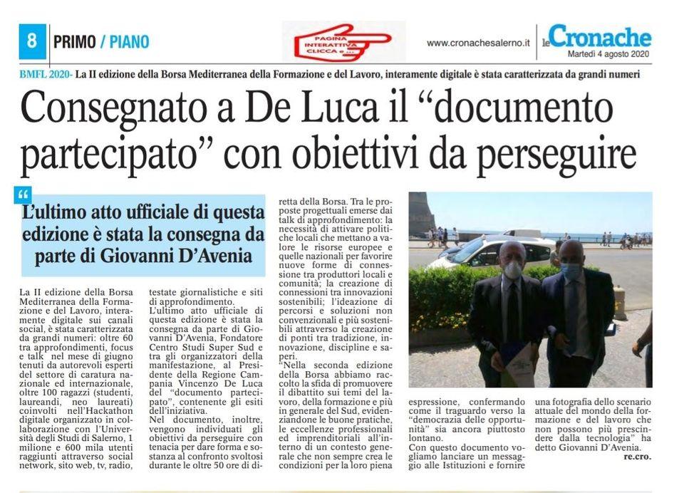 Consegna del documento partecipato al Presidente Vincenzo De Luca